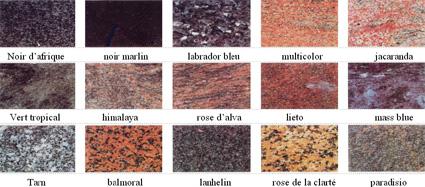 Principales couleurs de granits